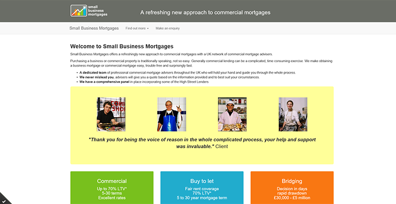 Small Business Mortgages website image