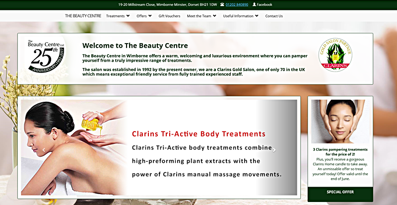 The Beauty Centre website image